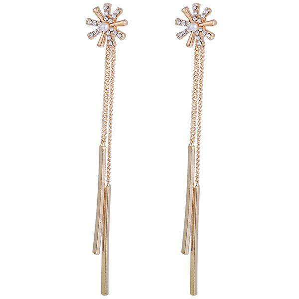 Link Chain Stick Rhinestone Flower Drop Earrings - GOLDEN