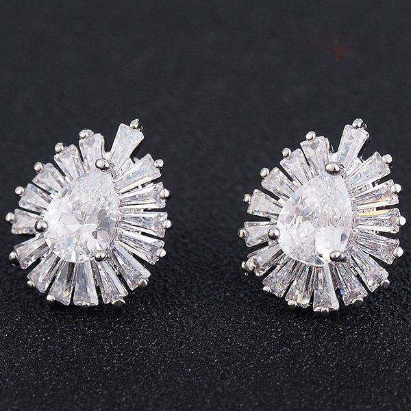 Waterdrop Faux Crystal Stud Earrings - SILVER