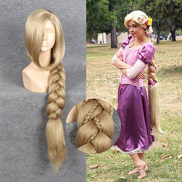 Ultra Long Side Part Straight Braid Tangled Rapunzel Cosplay Wig 69000546 cos dark red long straight braid wig cosplay wig hivision