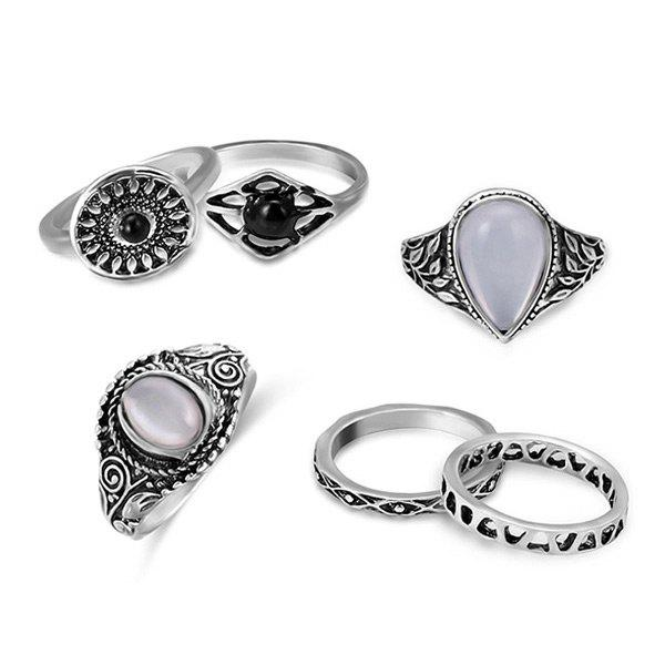 Faux Opal Teardrop Vintage Ring Set