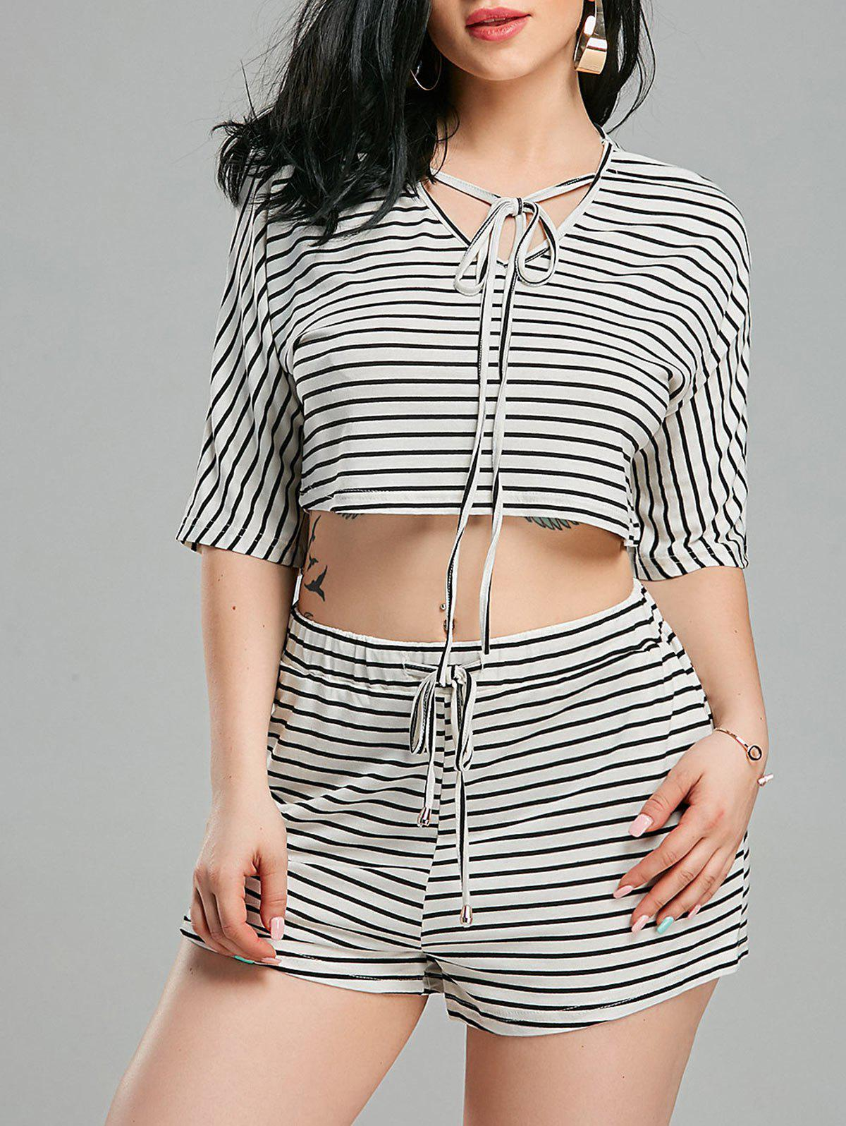 Lacing Striped V Neck Crop Top+Shorts - WHITE/BLACK M