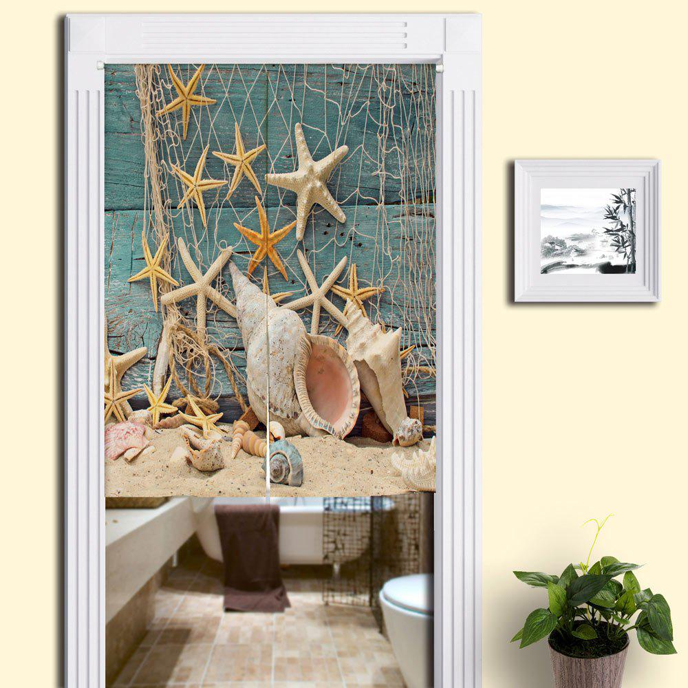 Attractive Beach Starfish Printed Bathroom Decor Door Curtain   BLUE W33.5 INCH * L47  INCH