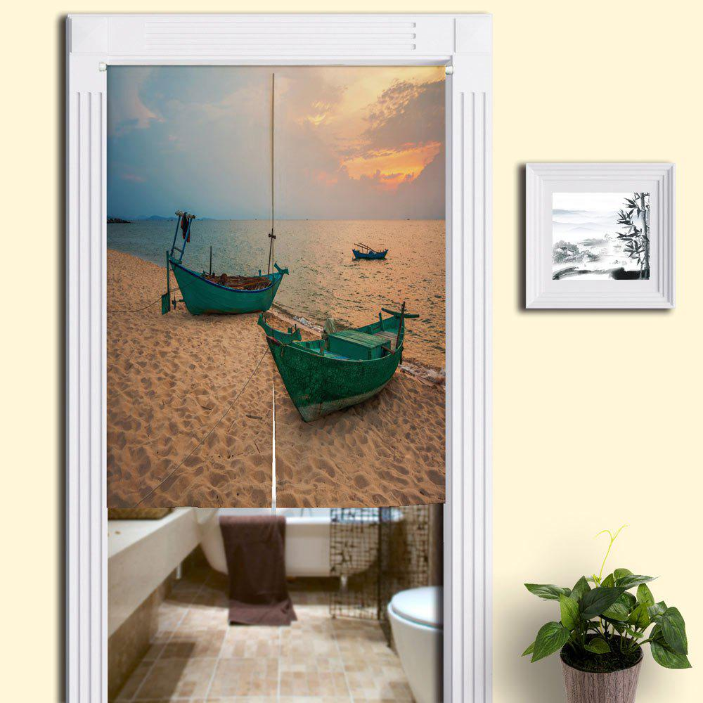 Beach Boat Printed Bathroom Door Curtain - SAND YELLOW W33.5 INCH * L35.5 INCH