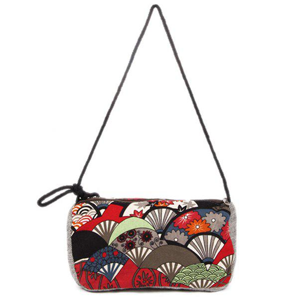 Linen Ethnic Print Crossbody Bag - RED