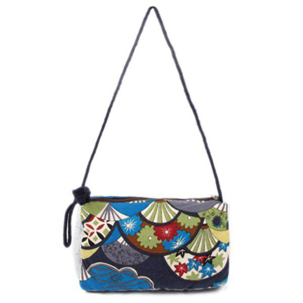Linen Ethnic Print Crossbody Bag - BLUE