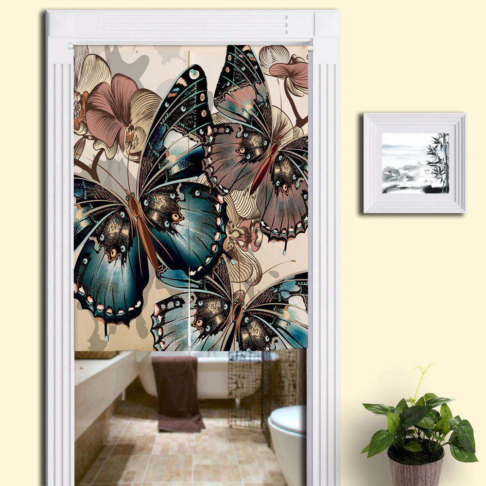 Bathroom Decorative Butterflies Pattern Door Curtain - COLORMIX W33.5 INCH * L35.5 INCH