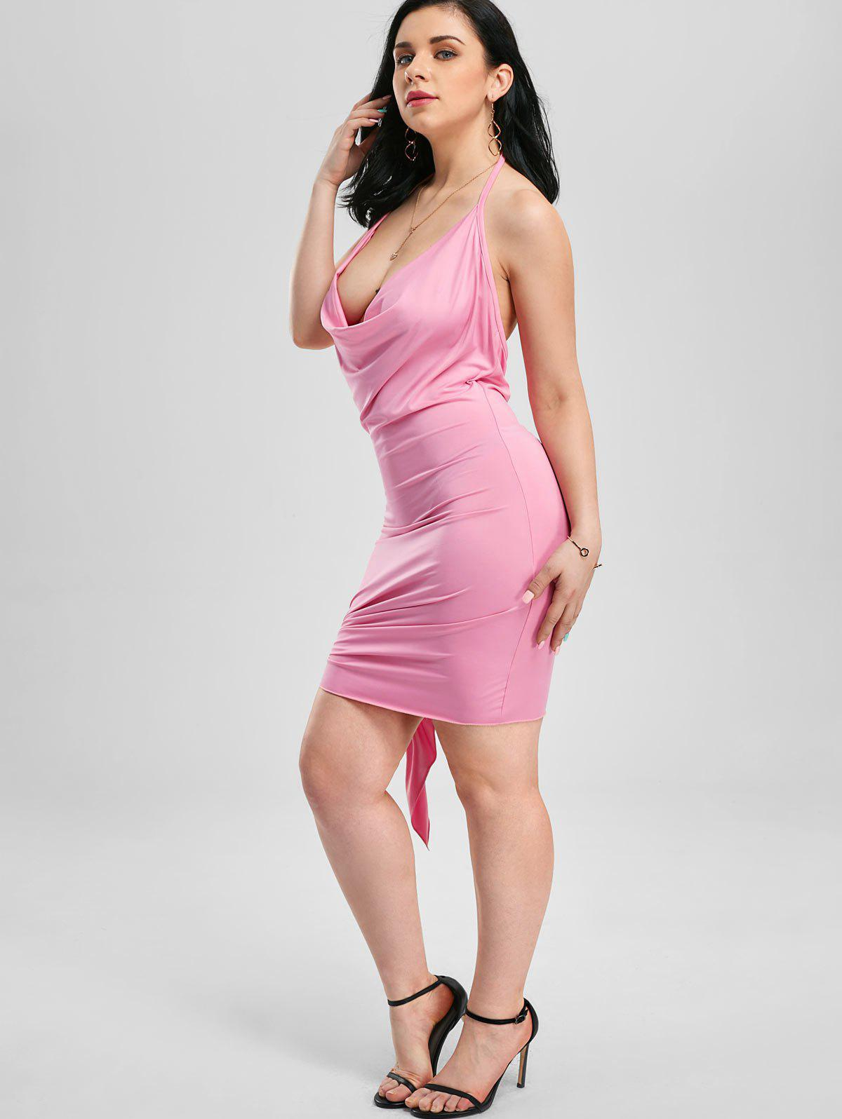 Halter Backless Mini Club Dress - PINK S