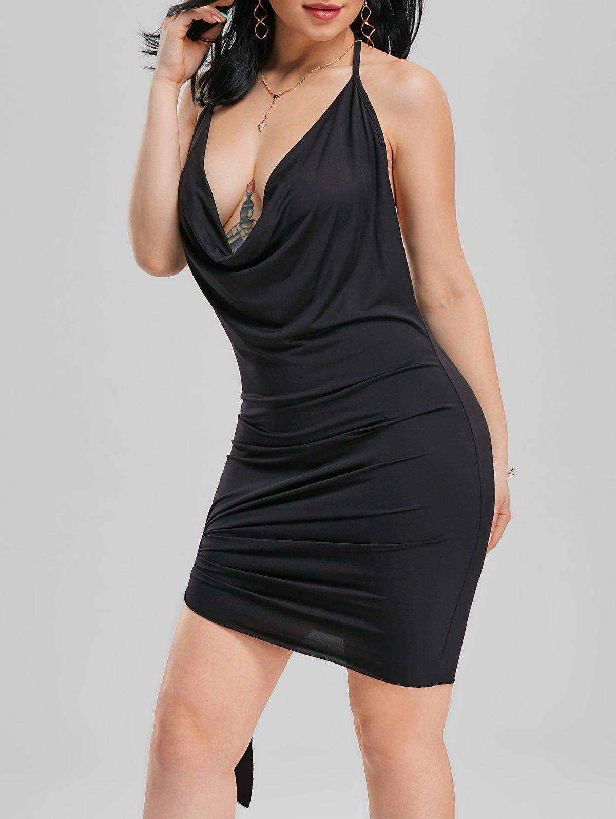 Halter Backless Mini Club Dress - BLACK S