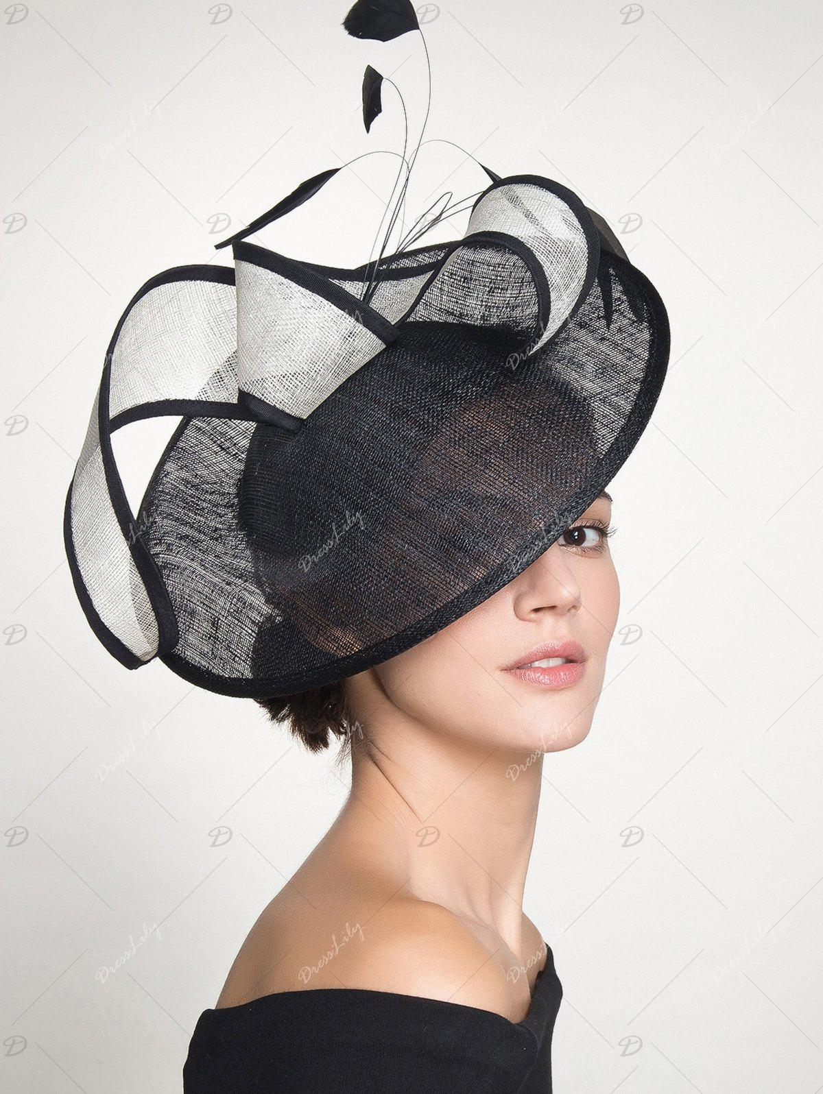 Feather Cambric Ribbon Cocktail Hat - Noir