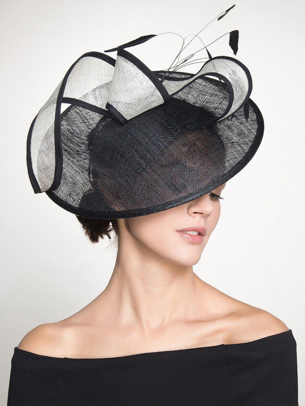 Feather Cambric Ribbon Cocktail Hat - [