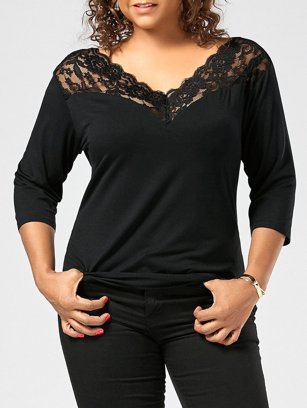 Lace Sheer Trim Plus Size T-shirt plus size sheer lace trim ruched top