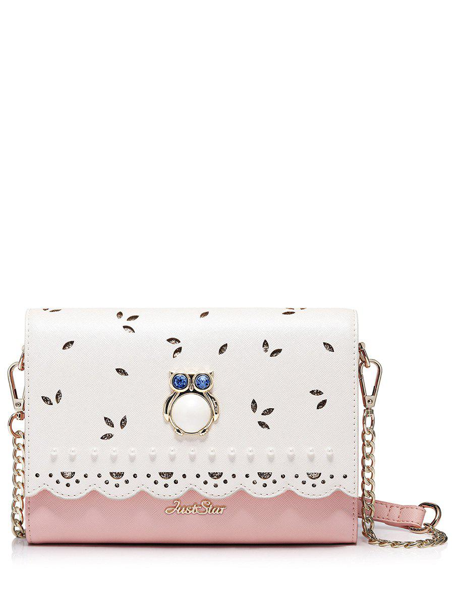 Owl Beads Scalloped Crossbody Bag - PINK