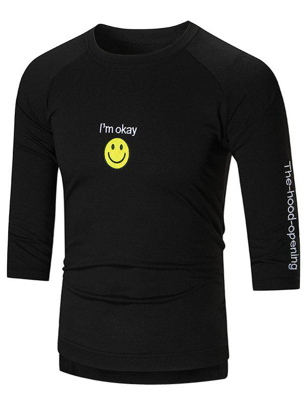 Smile Face Embroidered High-Low T-shirt smile face embroidered high low t shirt