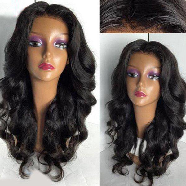 Long Middle Part Fluffy Loose Wave Lace Front Synthetic Wig - BLACK