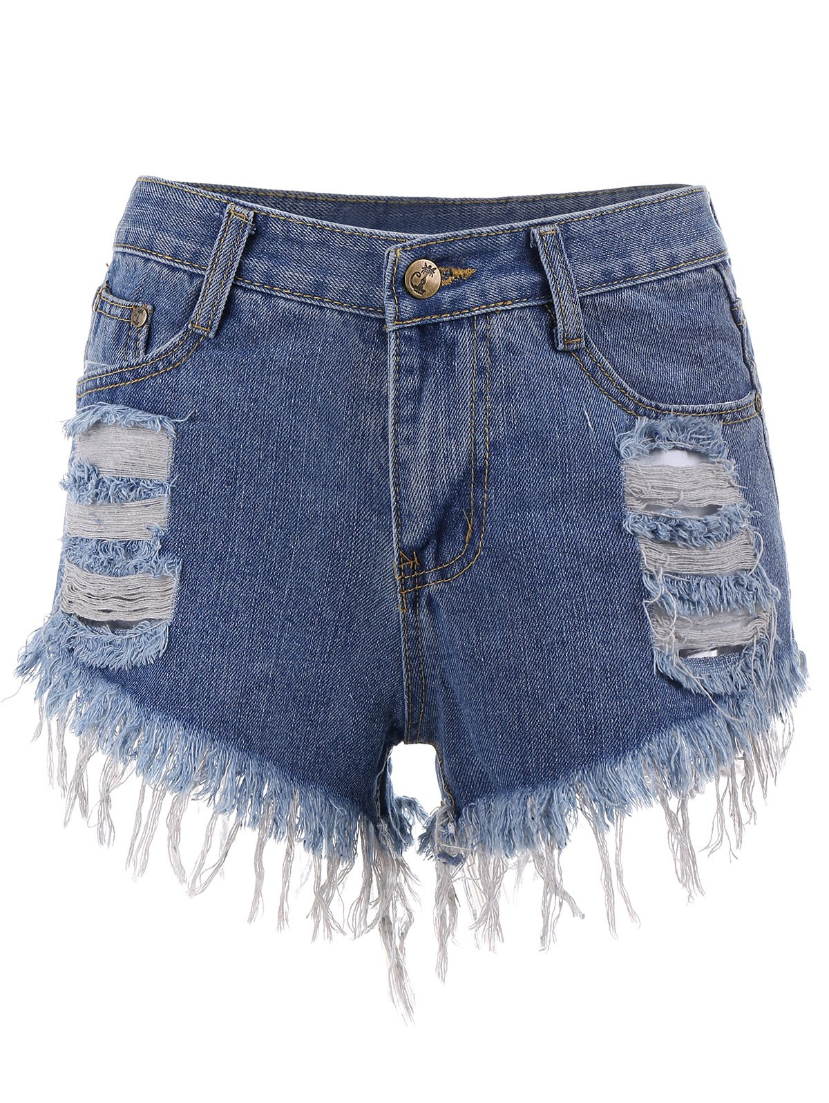 Ripped Mini Cut Off Denim Shorts - BLUE S