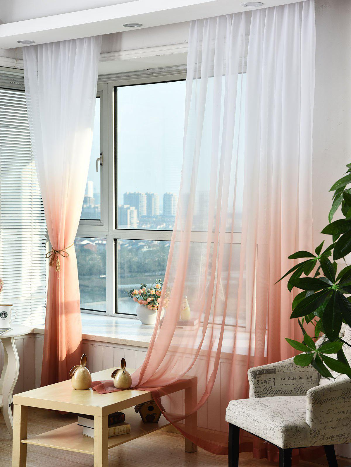 1PC Gradient Color Voile Window Curtain - WINE RED W39 INCH * L98.5 INCH