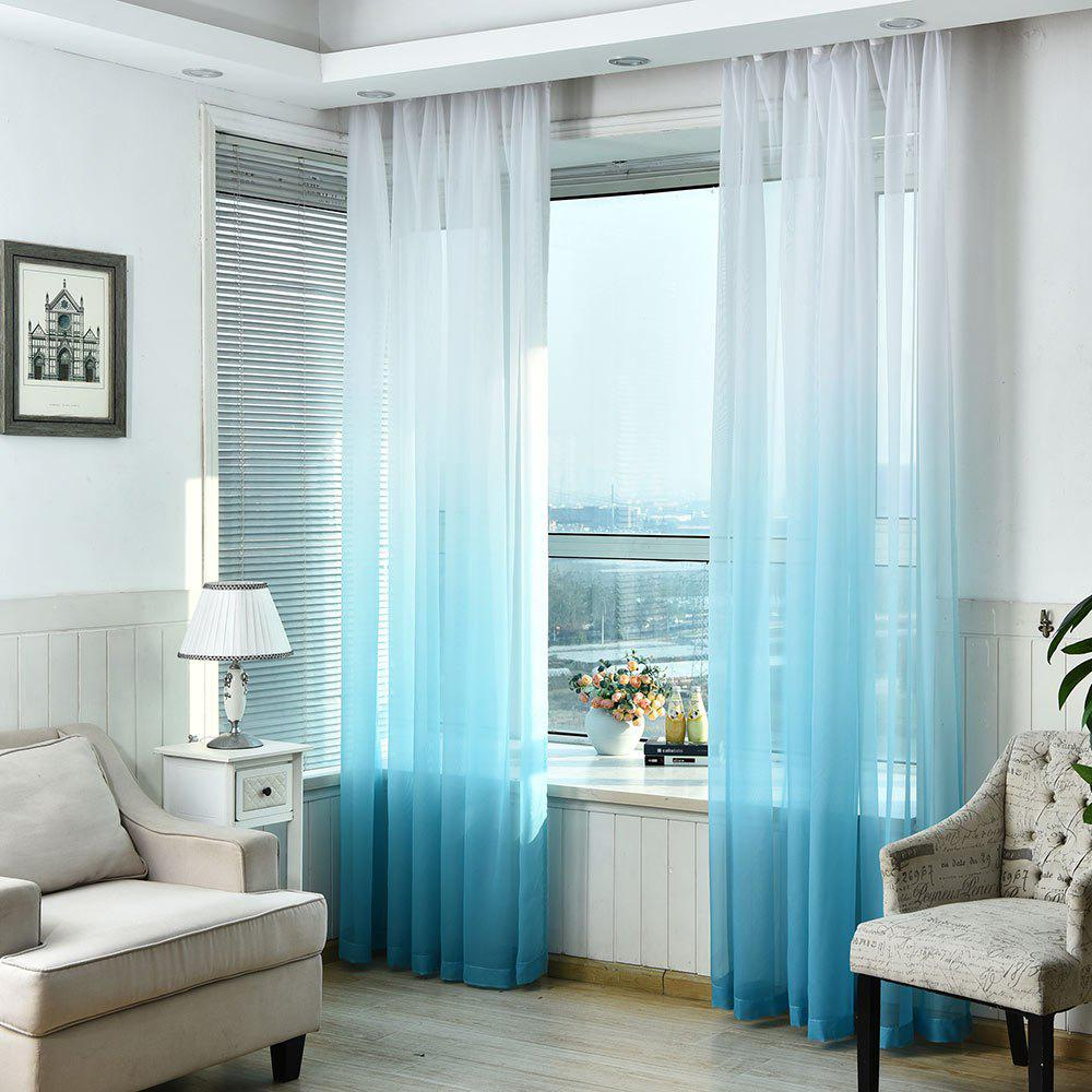 1PC Gradient Color Voile Window Curtain - LIGHT BLUE W39 INCH * L98.5 INCH