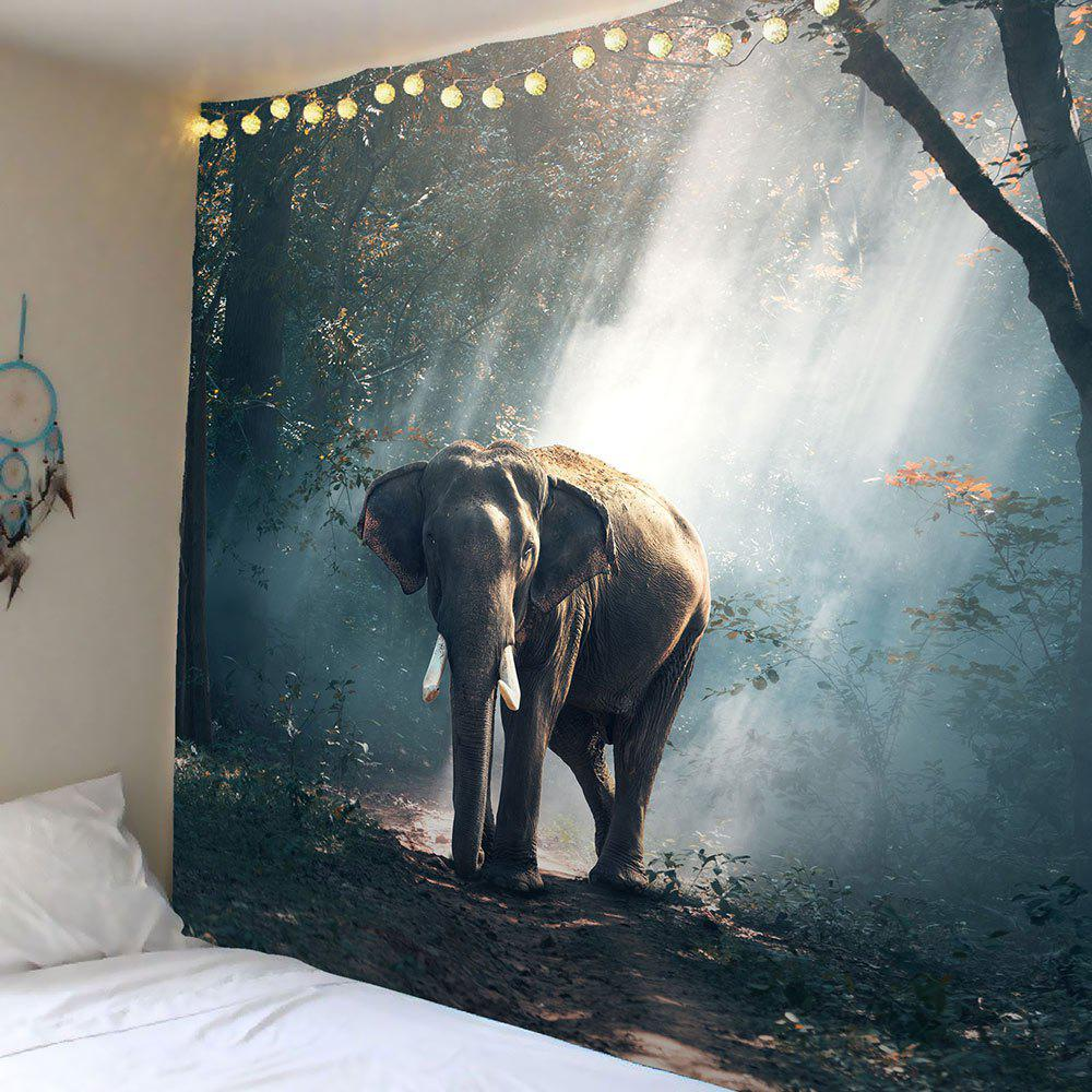 Elephant in Forest Wall Tapestry forest elephant wall hanging animal tapestry