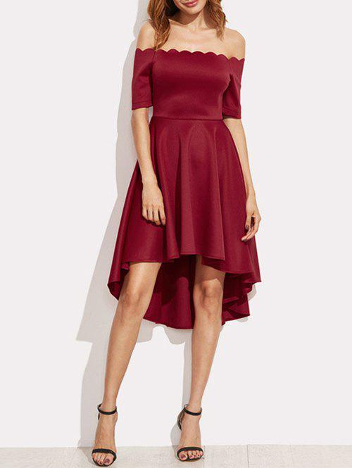 Scalloped Off The Shoulder High Low Dress - BURGUNDY S