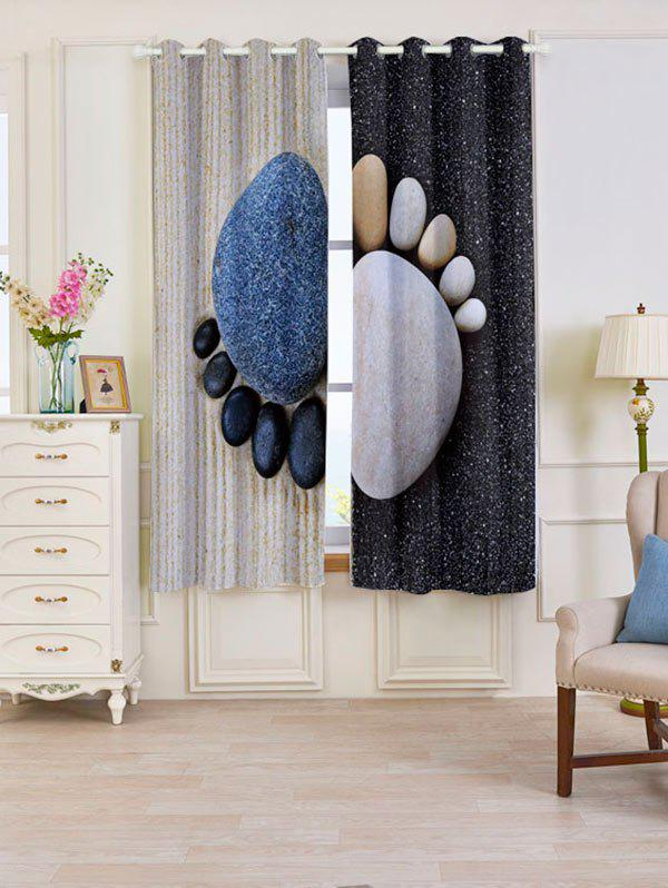 Blackout Stone Foot Pattern Window Curtains - SMOKY GRAY W53 INCH * L63 INCH
