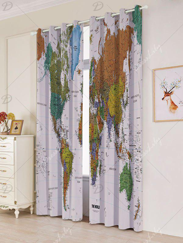 World Map Print Blackout Window Curtains - COLORFUL W53 INCH * L96.5 INCH