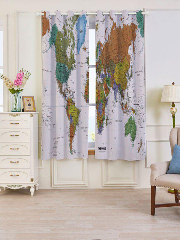 Carte du monde Imprimer Blackout Window Curtains - Coloré W53 INCH * L63 INCH