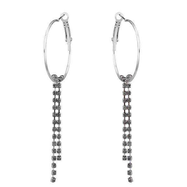 Rhinestoned Circle Fringed Hoop Drop Earrings - BLACK