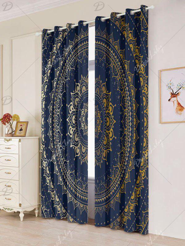 Bohemian Mandala Printed Blackout Window Curtains - COLORFUL W53 INCH * L96.5 INCH