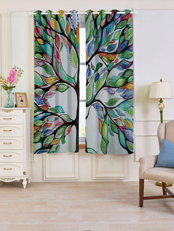 2 PC Blackout Life of Tree Print Window Curtains - Coloré W53 INCH * L63 INCH