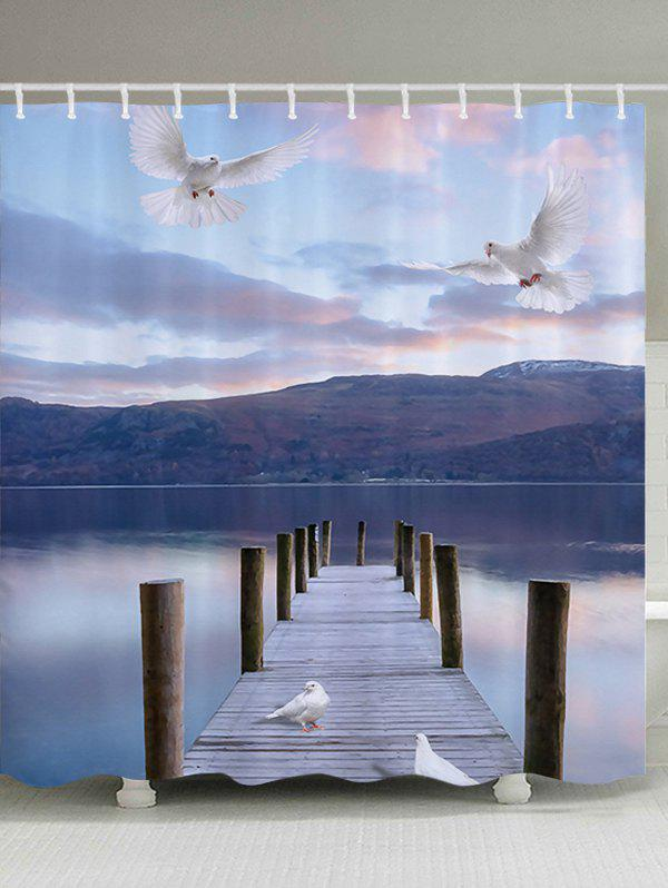 Lake Bridge Pigeon Fabric Bathroom Shower Curtain knife lake
