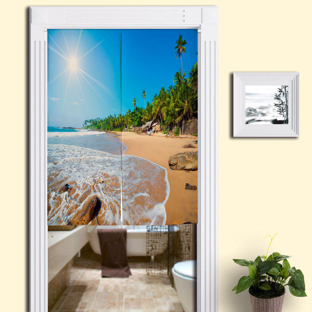 Home Product Sunshine Beach Print Door Curtain - BLUE W33.5 INCH * L35.5 INCH