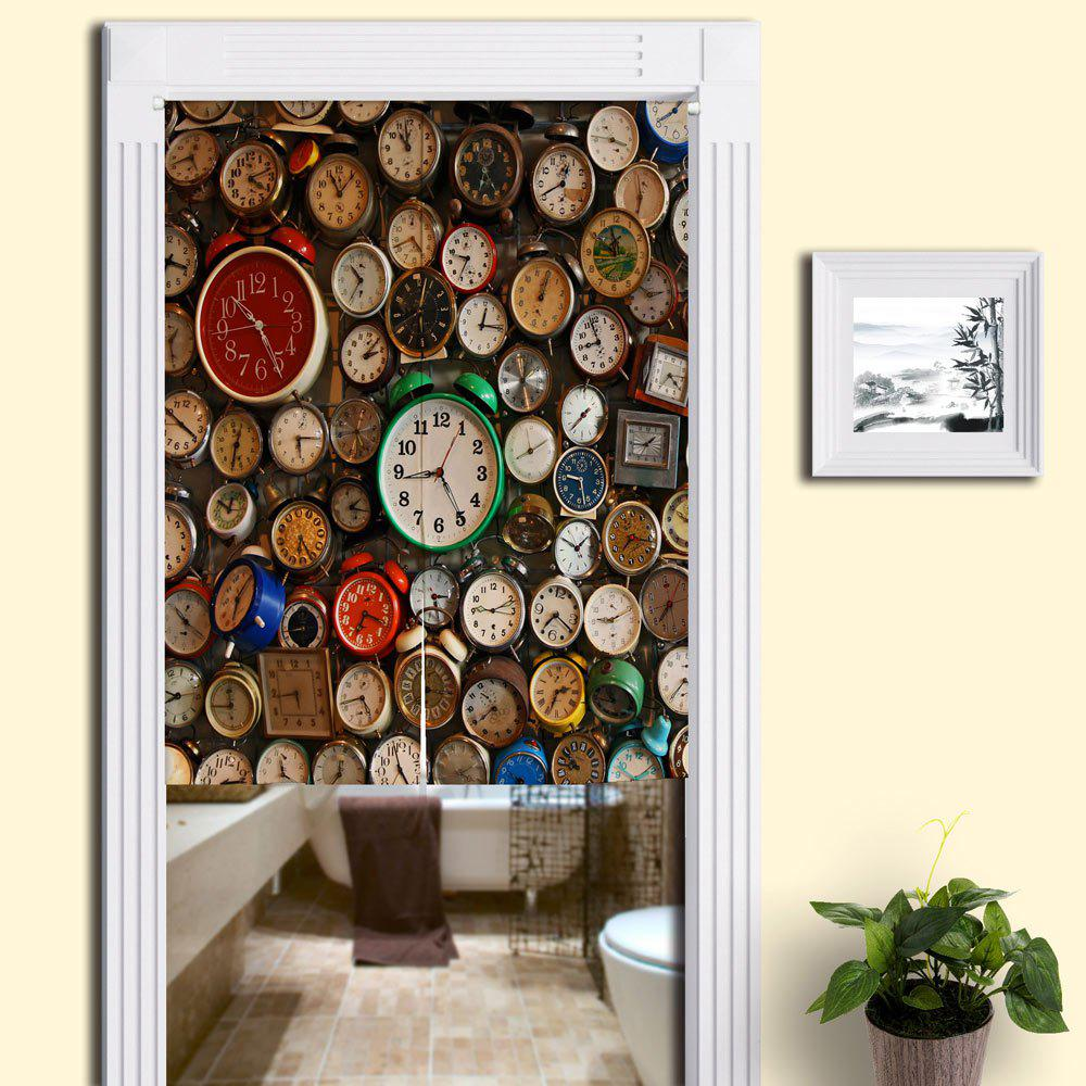 Clocks Print Home Product Door Curtain - COLORMIX W33.5 INCH * L35.5 INCH