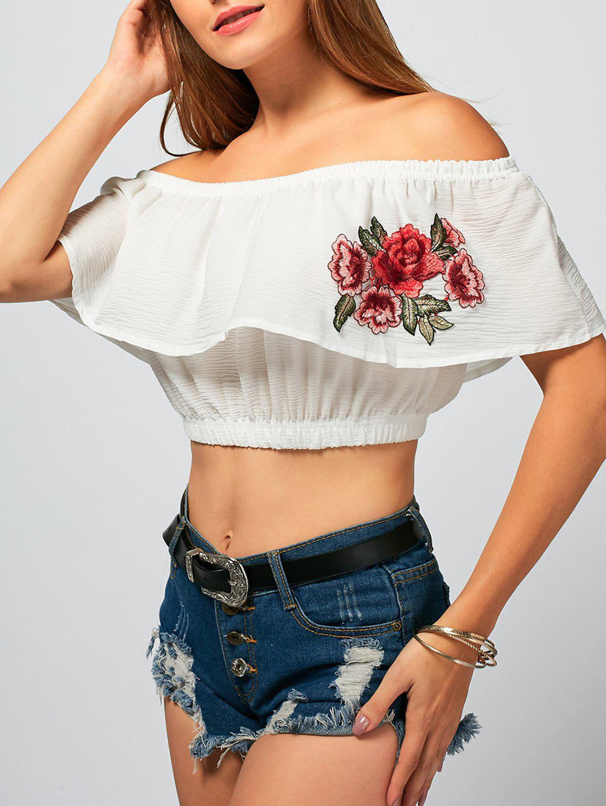 Off The Shoulder Flower Embroideried Crop Top - WHITE M