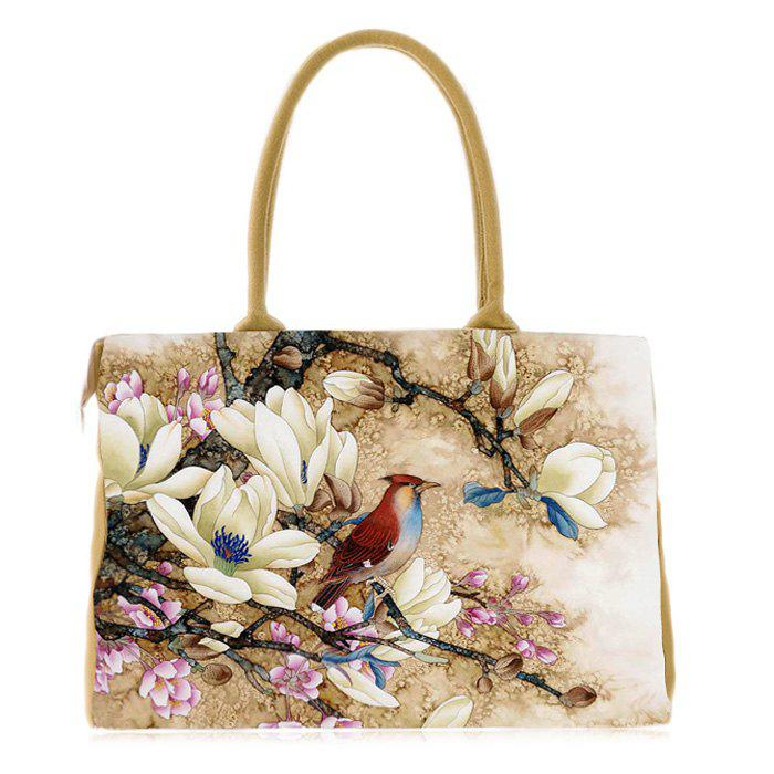 Canvas Flower Print Handbag - YELLOW