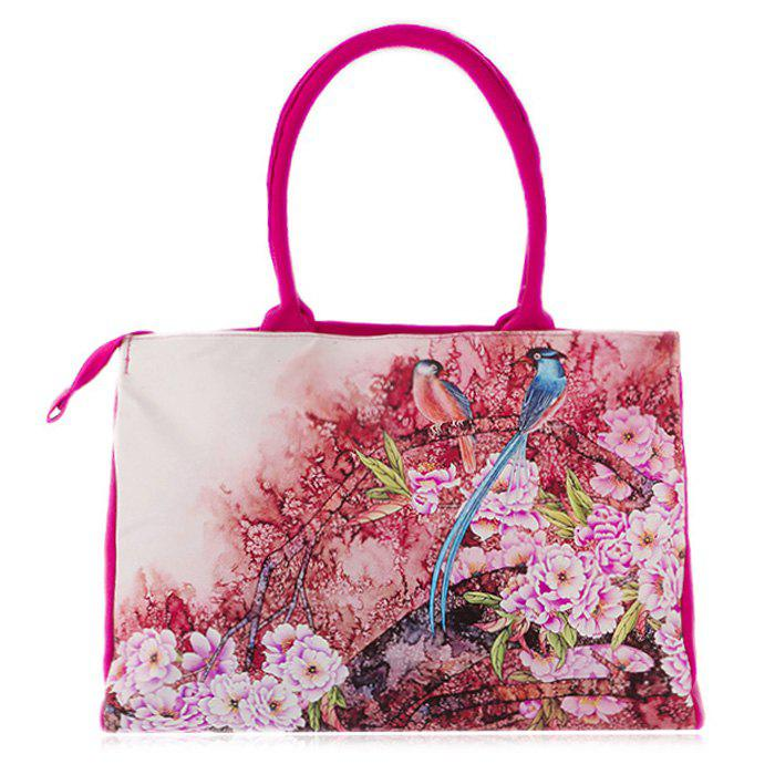 Canvas Flower Print Handbag - ROSE RED