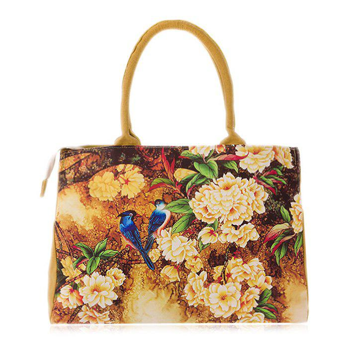 Canvas Flower Print Handbag - DEEP YELLOW