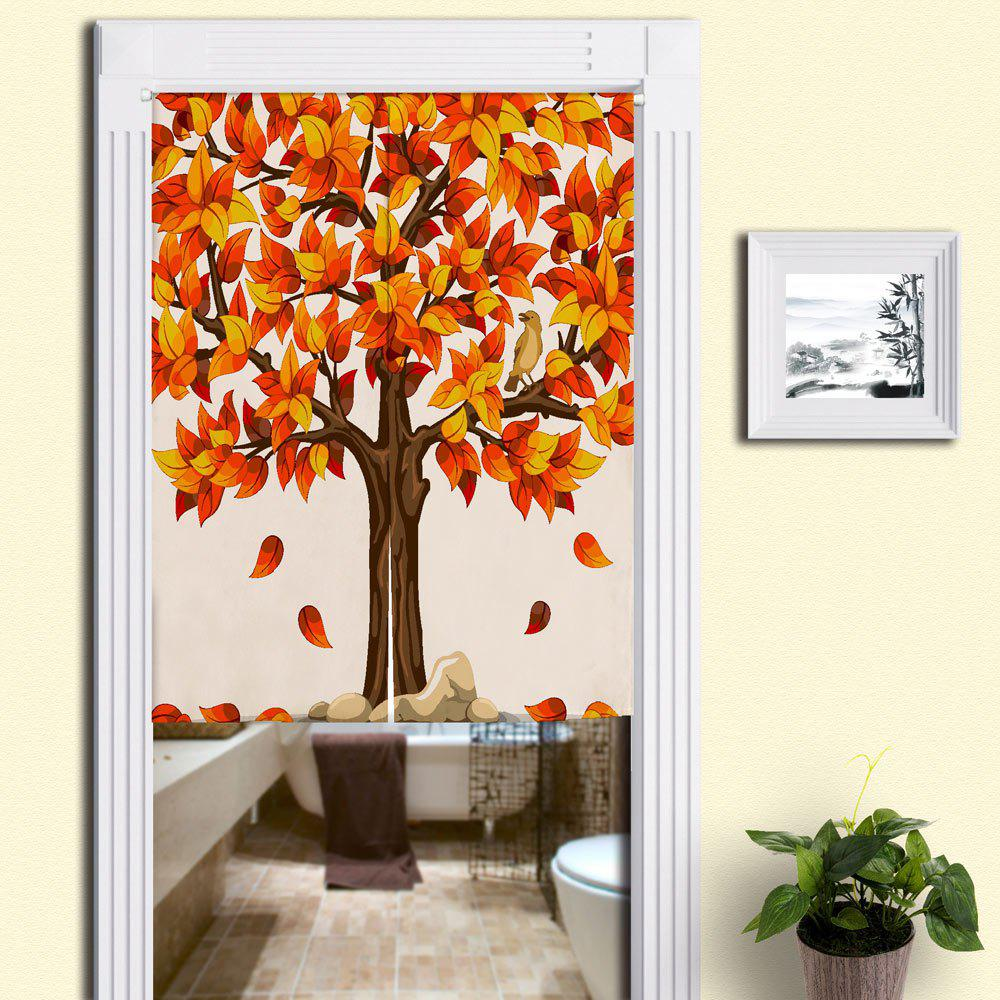 Home Product Fall Tree Printed Door Curtain - MANDARIN W33.5 INCH * L35.5 INCH