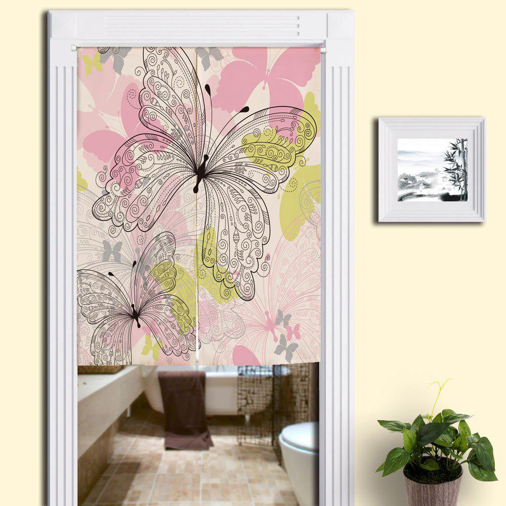 Cotton Linen Home Butterflies Printed Door Curtain - PINK W33.5 INCH * L47 INCH