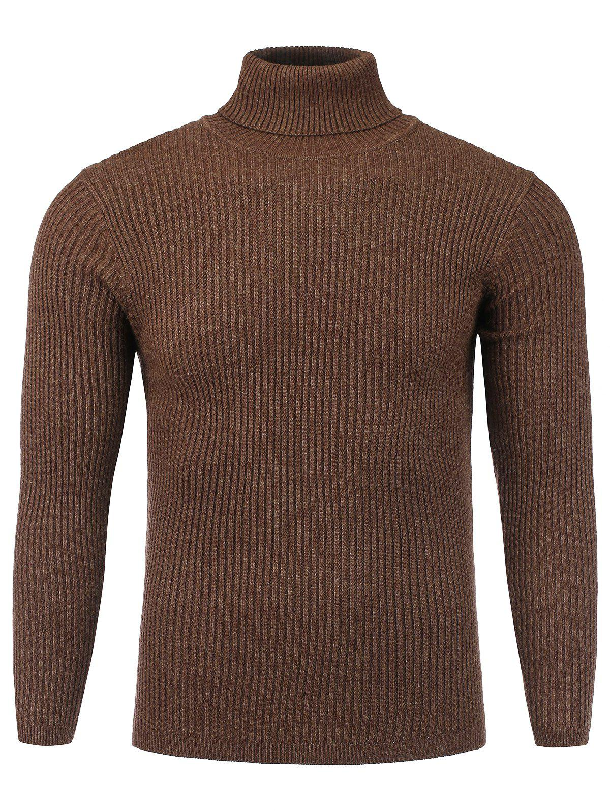 Turtle Neck Stretchy Vertical Knitting Sweater turtle neck vertical knitting stretchy sweater