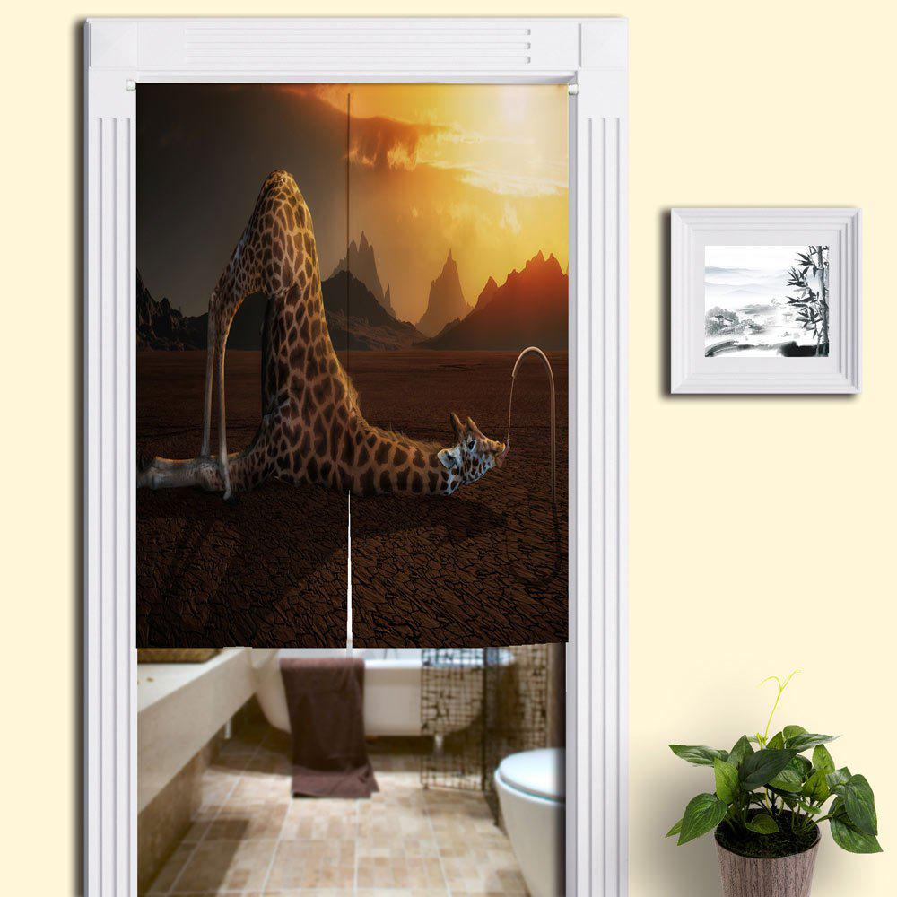 Giraffe Drink Water Print Home Animal Door Curtain - BROWN W33.5 INCH * L35.5 INCH