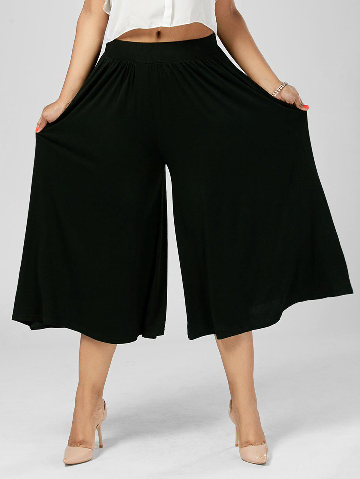Plus Size Palazzo Wide Leg Capri Pants, BLACK, XL in Plus Size ...