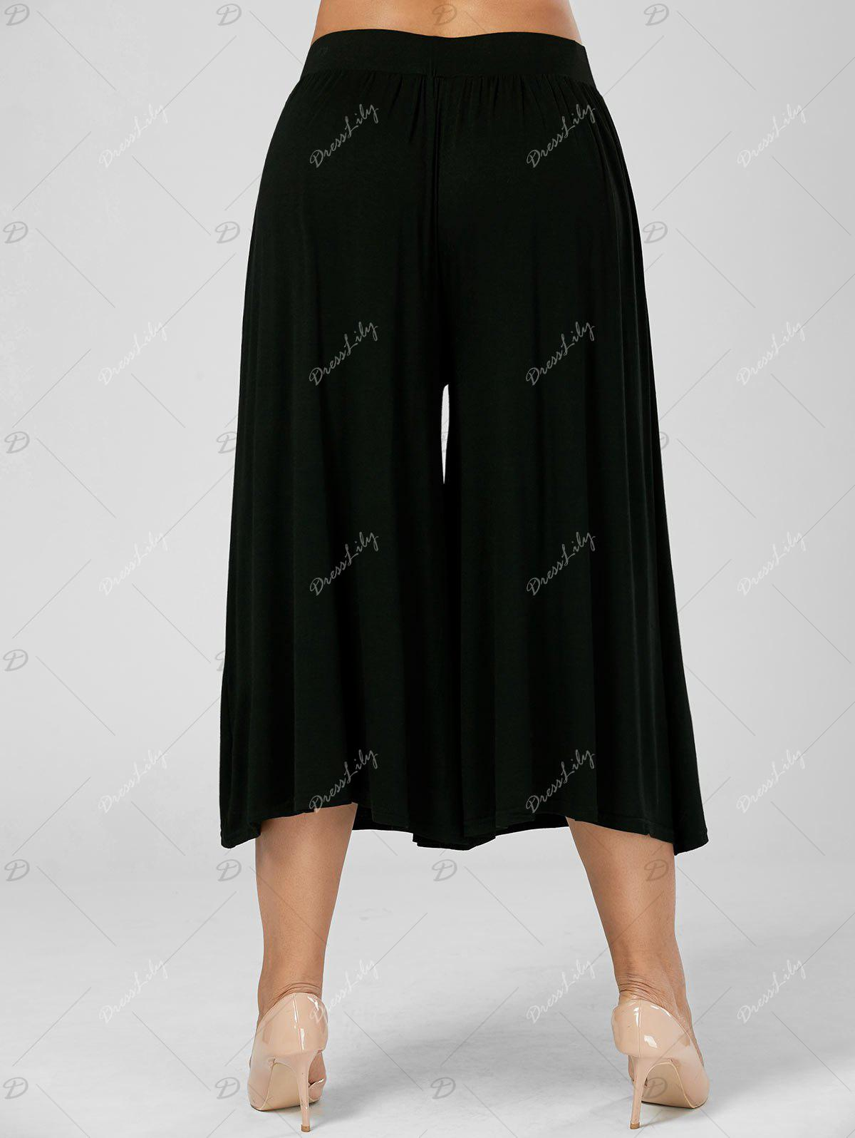 Plus Size Palazzo Wide Leg Capri Pants - BLACK 5XL