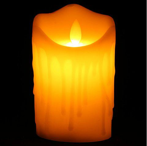 Electronic Swing Large Pillar Shaped Candle Night Light - Blanc Cassé H12.5CM