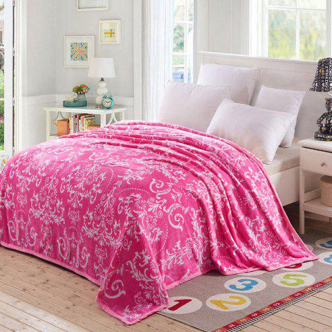 Flower Print European Style Soft Throw Blanket - Rose QUEEN