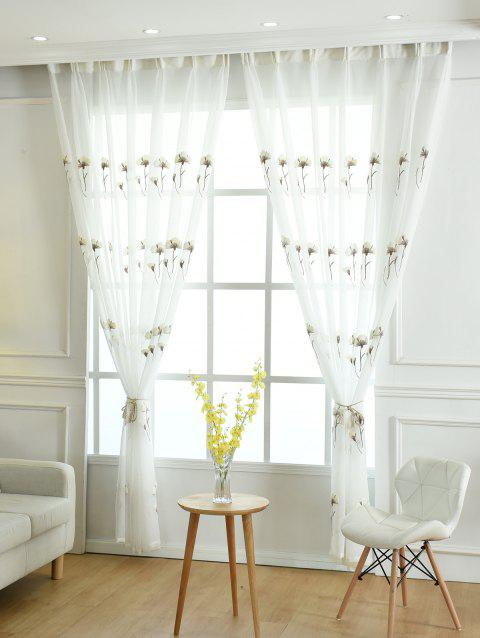Flower Embroidery Sheer Tulle Window Curtain - WHITE W42INCH * L84INCH