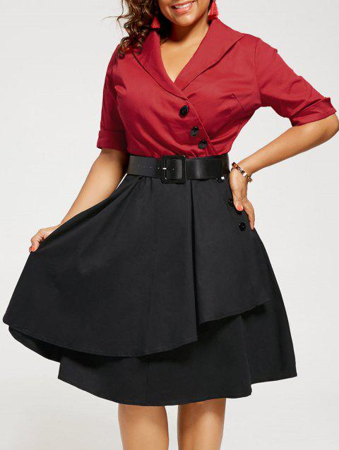 Two Tone A Line Plus Size Vintage Dress - RED 3XL