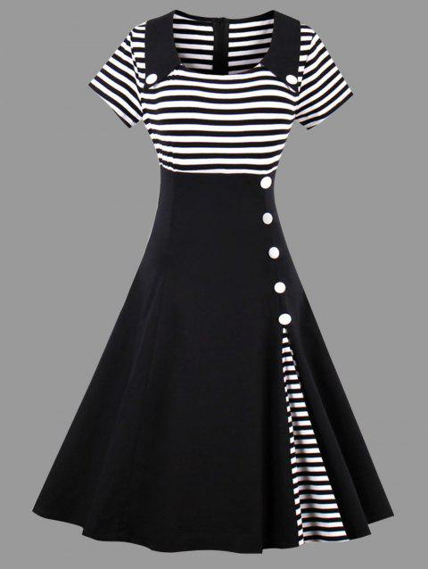 41% OFF] 2019 Striped A Line Plus Size Vintage Dress In BLACK ...