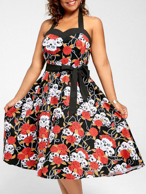 a0576a8f01 41% OFF] 2019 Floral Skull Print Halter Plus Size Vintage Dress In ...