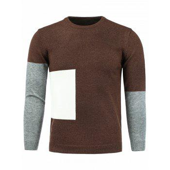 Crew Neck Knitting Color Block Panel Sweater