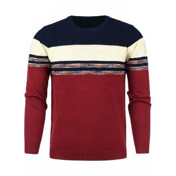 Snowflake Knitted Color Block Panel Sweater